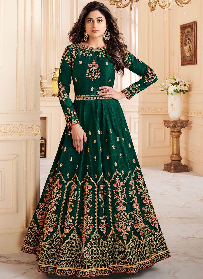 Shamita Shetty Resham Green Malbari Silk  Floor Length Anarkali Suit