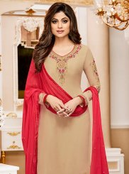 Shamita Shetty Resham Work Churidar Designer Suit