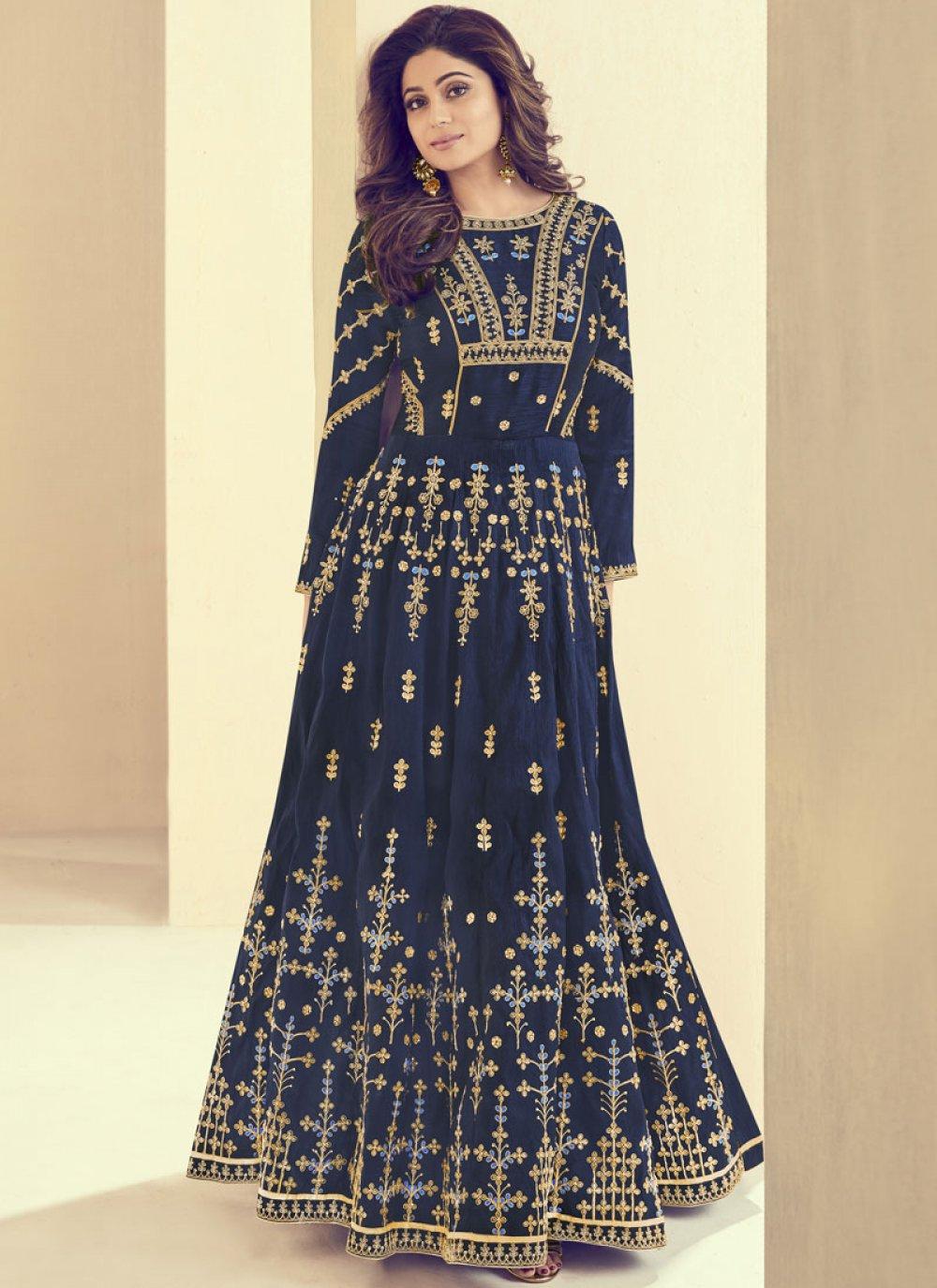 Shamita Shetty Scintillating Blue Floor Length Anarkali Suit