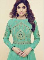 Shamita Shetty Sea Green Floor Length Anarkali Suit