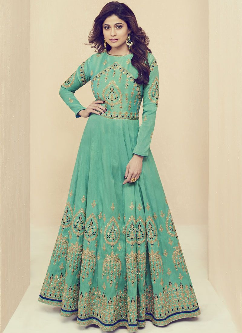 Shamita Shetty Sea Green Floor Length Anarkali Suit