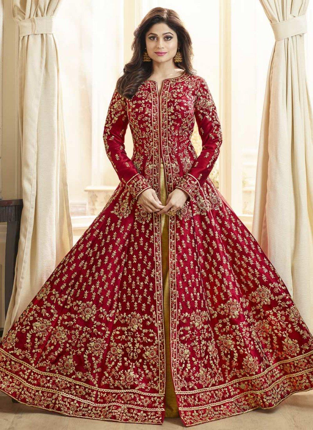 Shamita Shetty Simplistic Red Floor Length Anarkali Suit