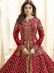 Shamita Shetty Simplistic Red Floor Length Anarkali Suit