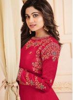 Shamita Shetty Zari Hot Pink Malbari Silk  Floor Length Anarkali Suit