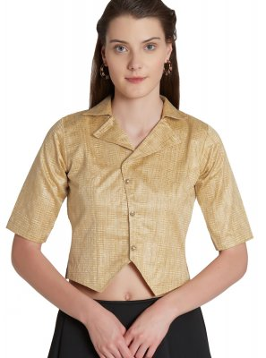 Shiny Beige Color Designer Blouse