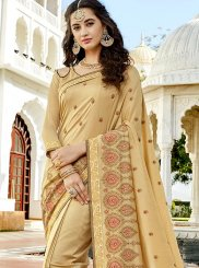 Silk Beige Stone Work Work Bollywood Saree