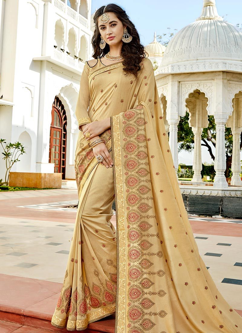 Silk Beige Stone Work Work Bollywood Saree
