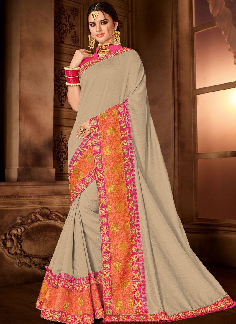 Silk Beige Trendy Saree