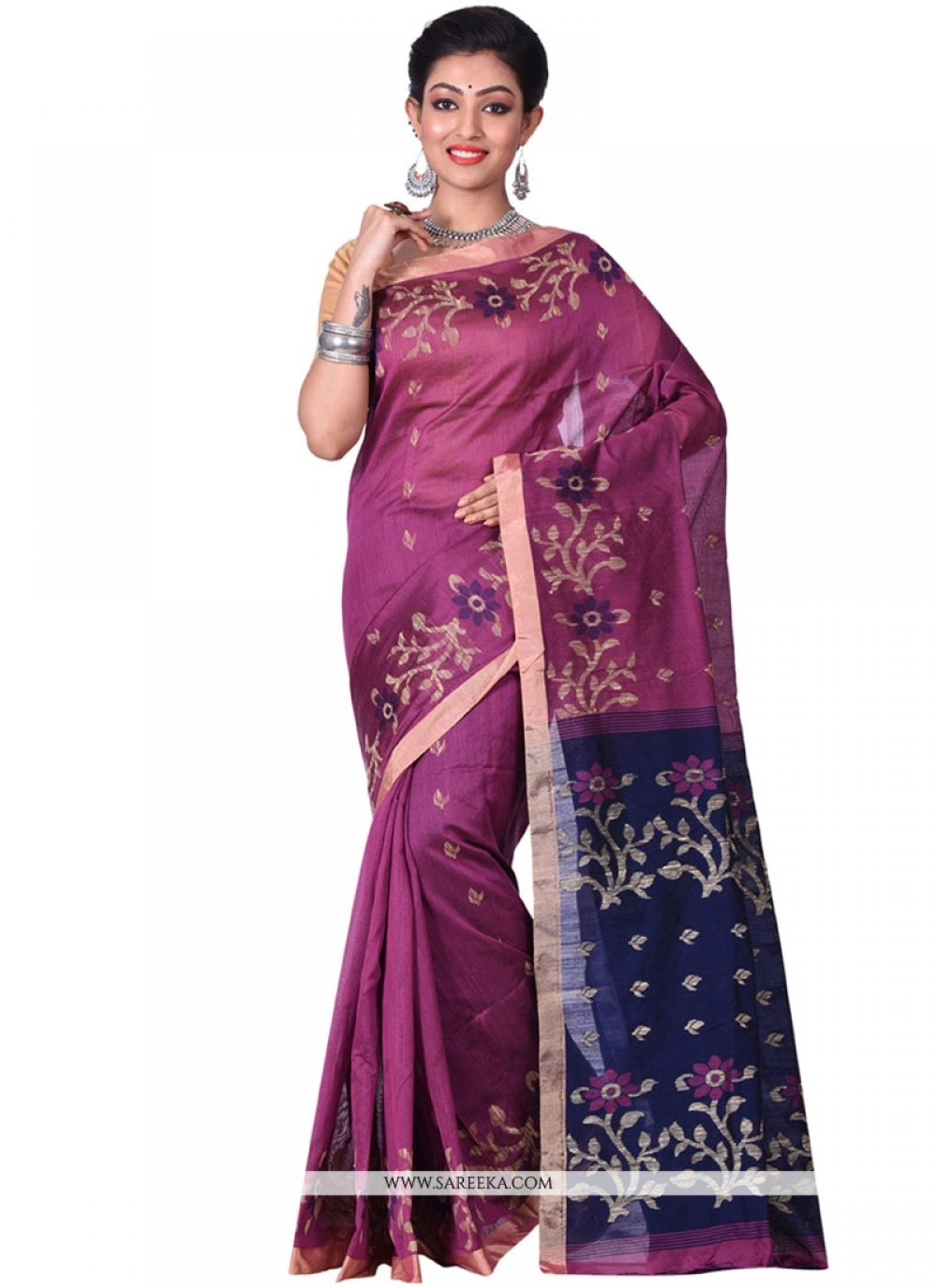 Silk Blue and Magenta Traditional  Saree