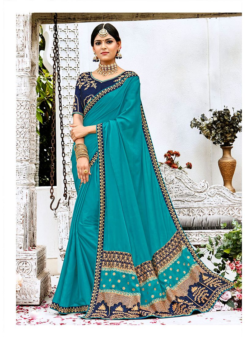 Silk Blue Designer Contemporary Style Saree