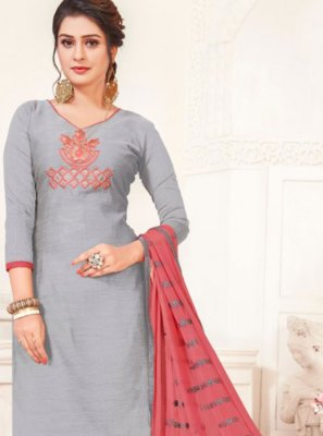 Silk Churidar Suit in Grey