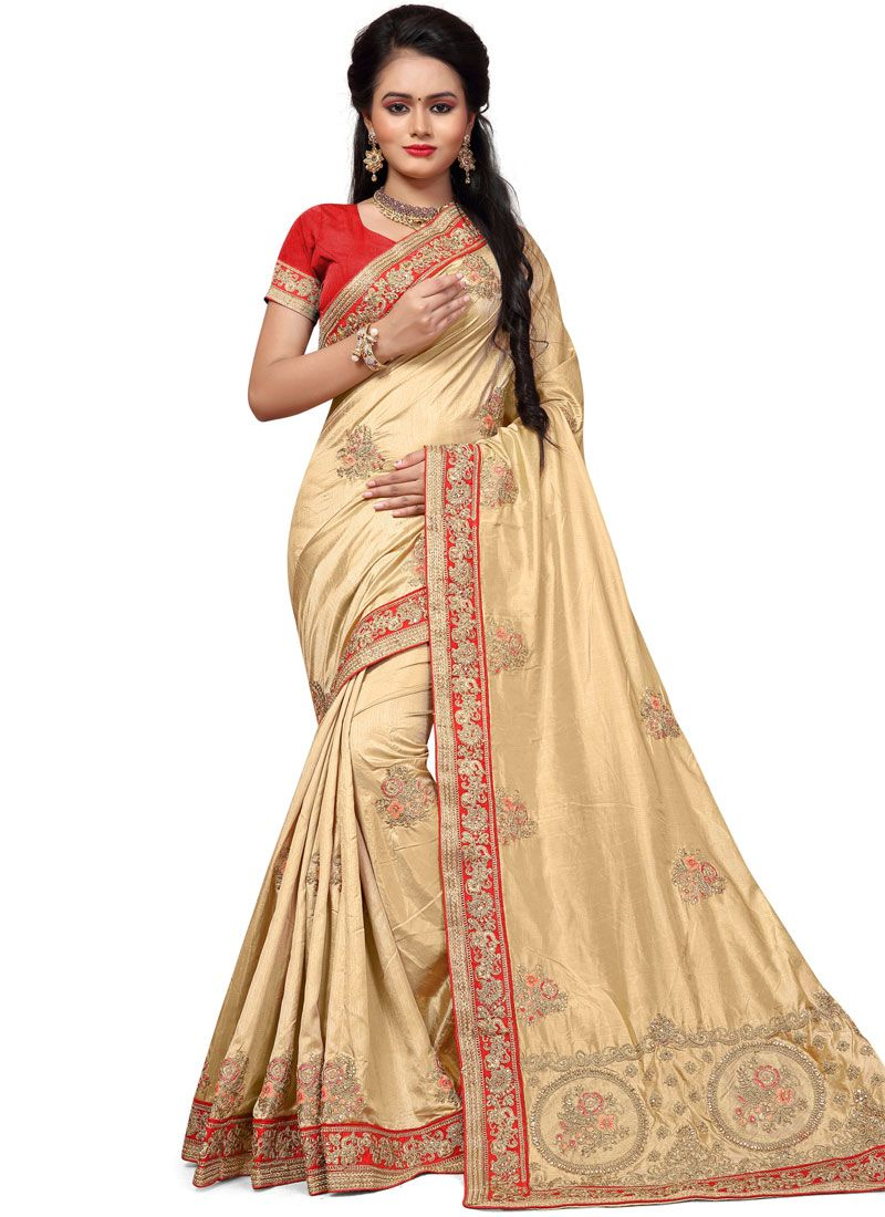 Silk Cream Stone Work Silk Saree