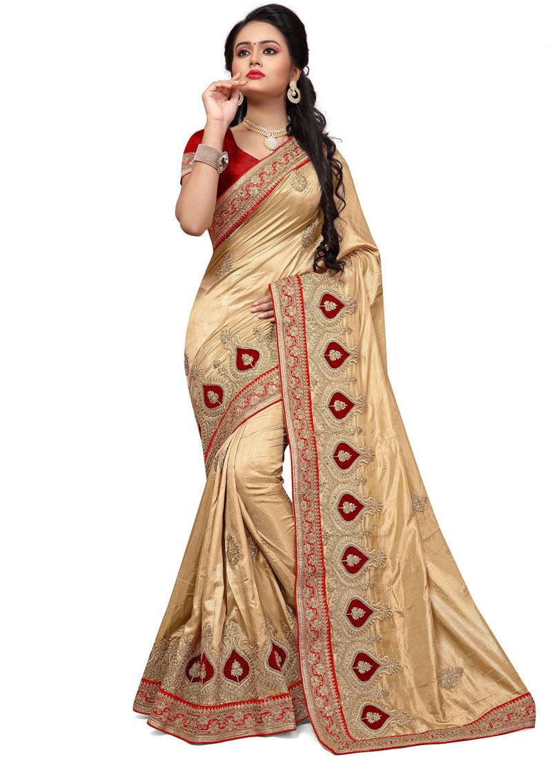Silk Cream Traditional  Saree