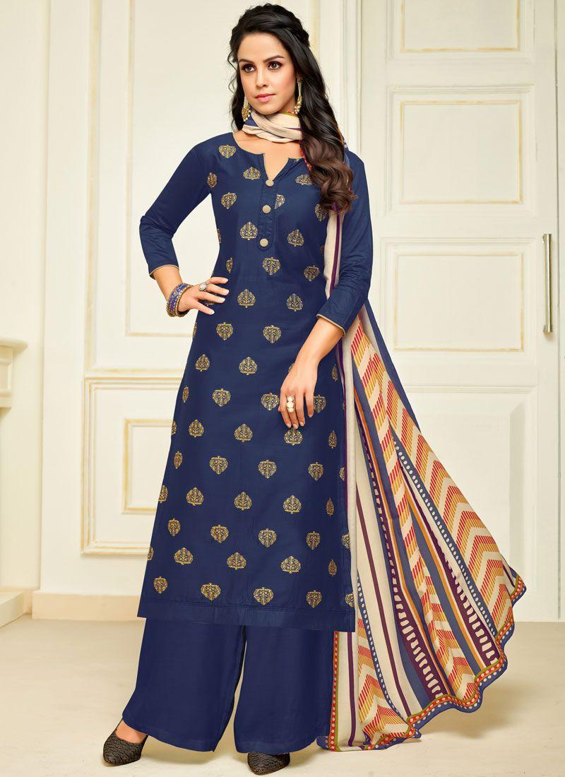 Silk Designer Palazzo Salwar Suit in Blue