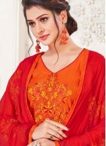 Silk Embroidered Churidar Suit in Orange