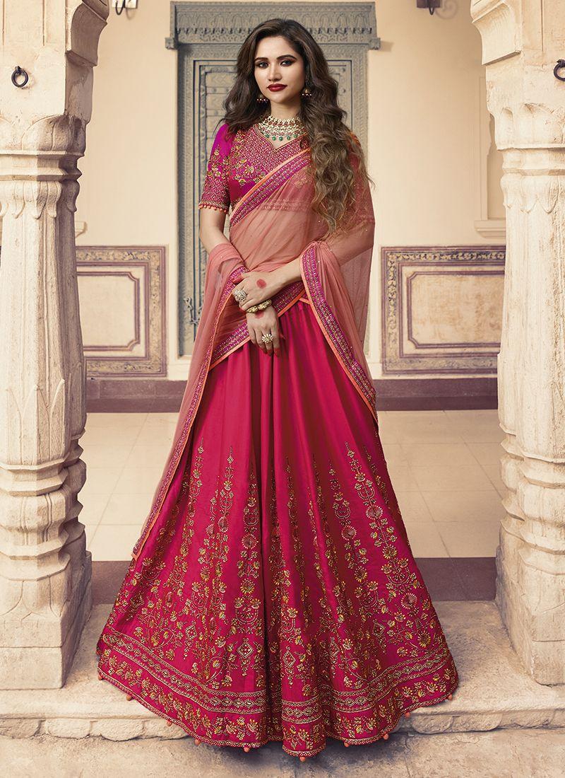 Silk Embroidered Hot Pink Lehenga Choli