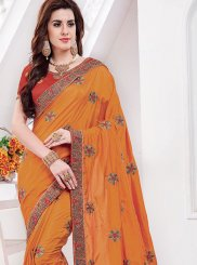 Silk Embroidered Mustard Classic Saree