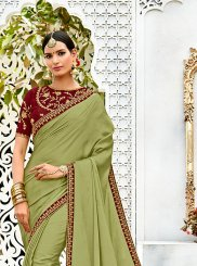 Silk Embroidered Work Contemporary Saree