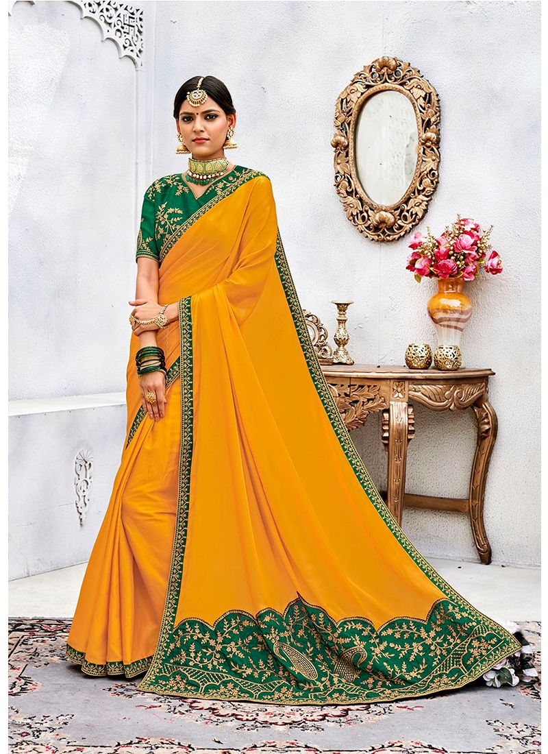 Silk Embroidered Work Designer Contemporary Saree