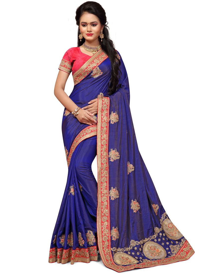 Silk Embroidered Work Silk Saree