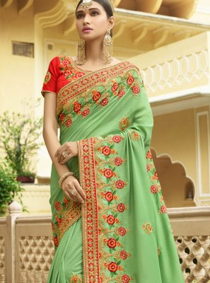 Silk Embroidered Work Trendy Saree