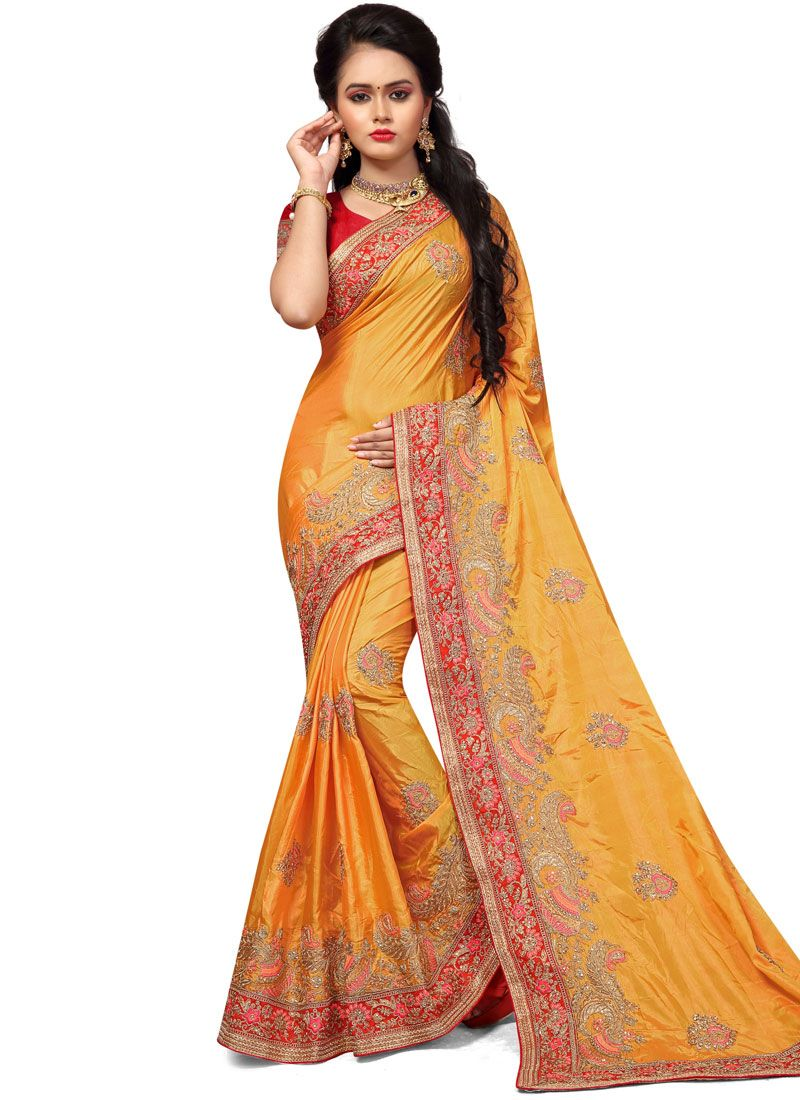 Silk Handwork Work Traditional  Saree