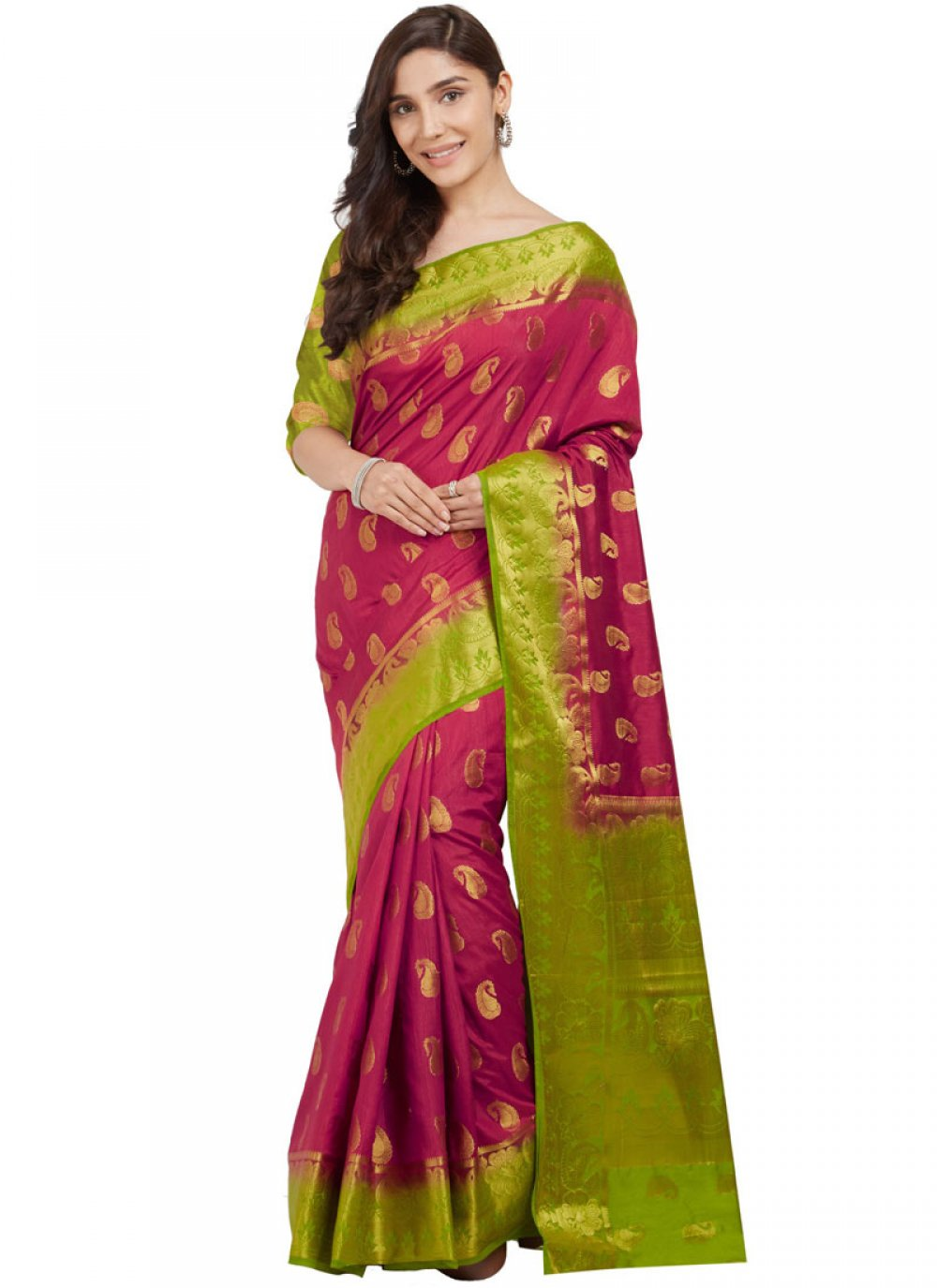 Silk Hot Pink Abstract Print Work Traditional  Saree