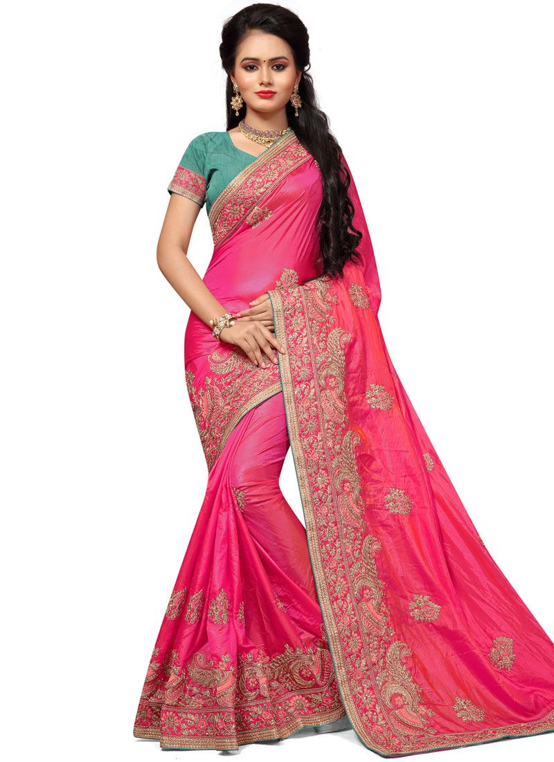 Silk Hot Pink Embroidered Work Traditional  Saree