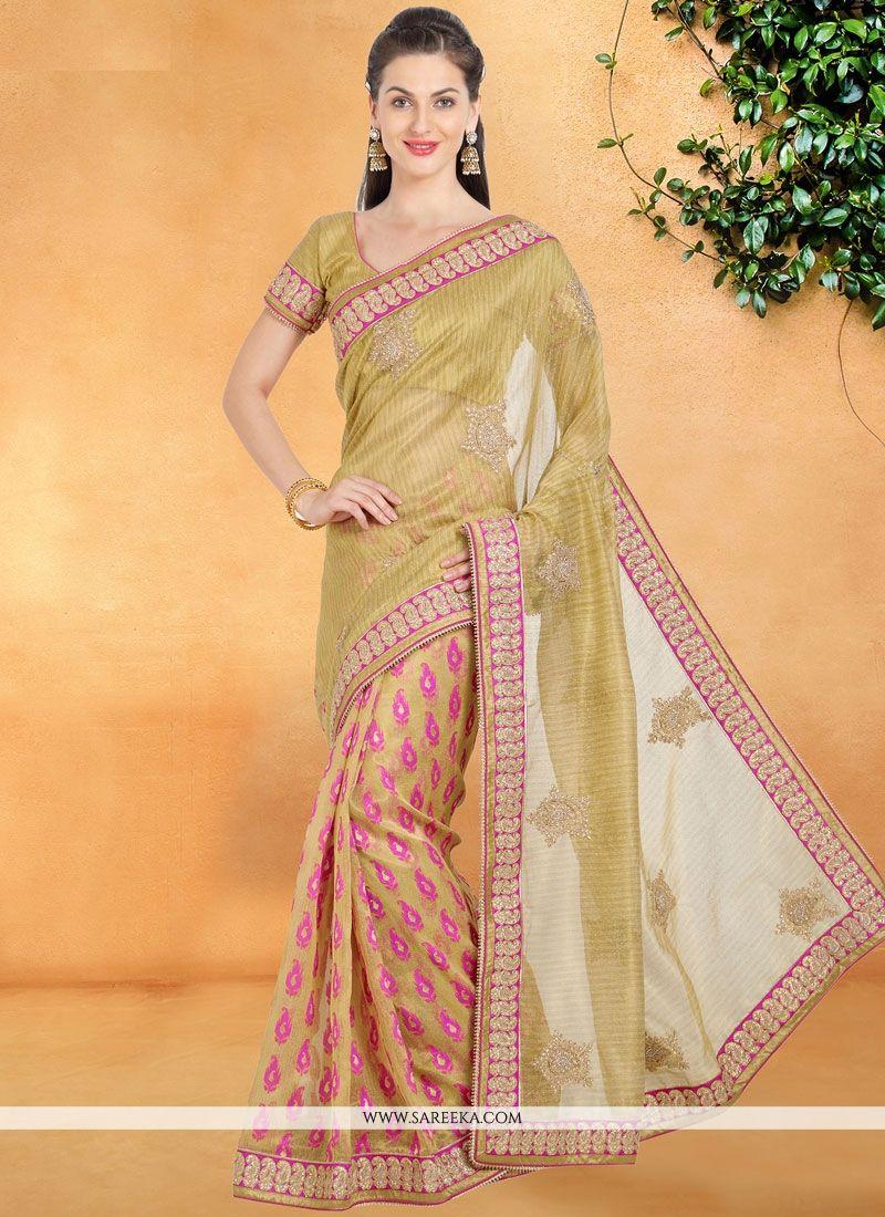 Silk Lace Work Casual Saree