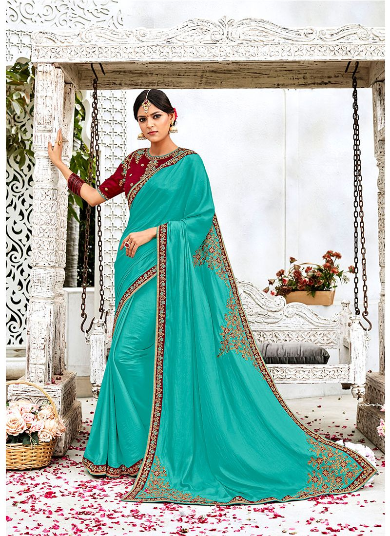 Silk Lace Work Contemporary Saree