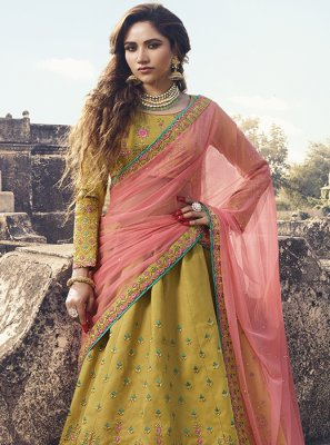 Silk Mustard Embroidered Designer Lehenga Choli