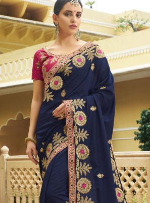 Silk Navy Blue Trendy Saree