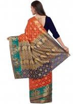 Silk Orange Abstract Print Work Traditional  Saree