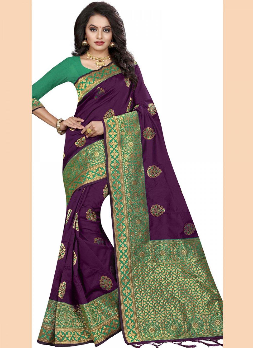 Silk Purple Border Classic Saree
