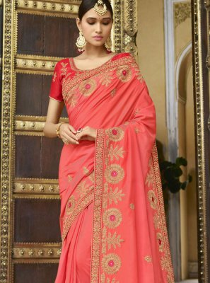 Silk Red Trendy Saree