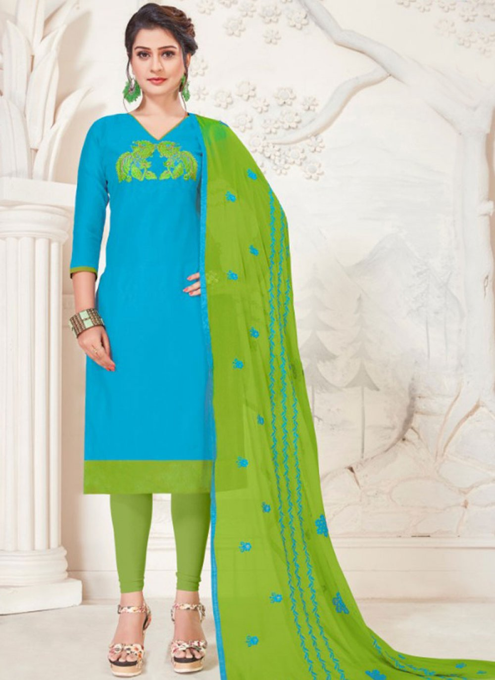 Silk Turquoise Churidar Salwar Kameez