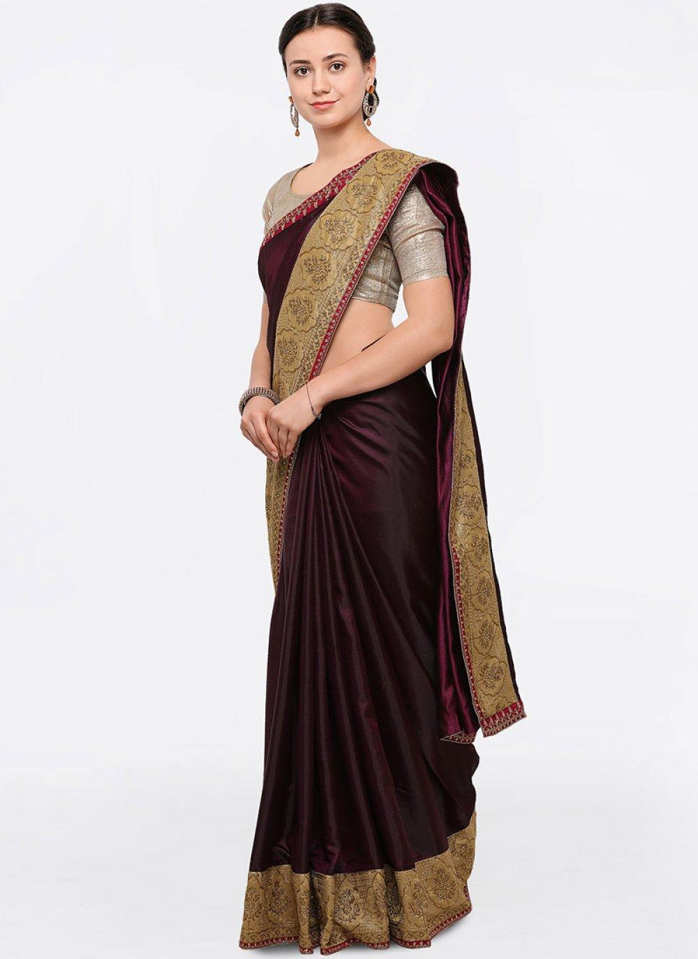 Silk Wine Zari Work Designer Saree