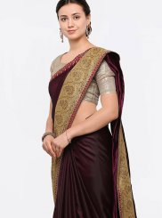 Silk Wine Zari Work Designer Saree