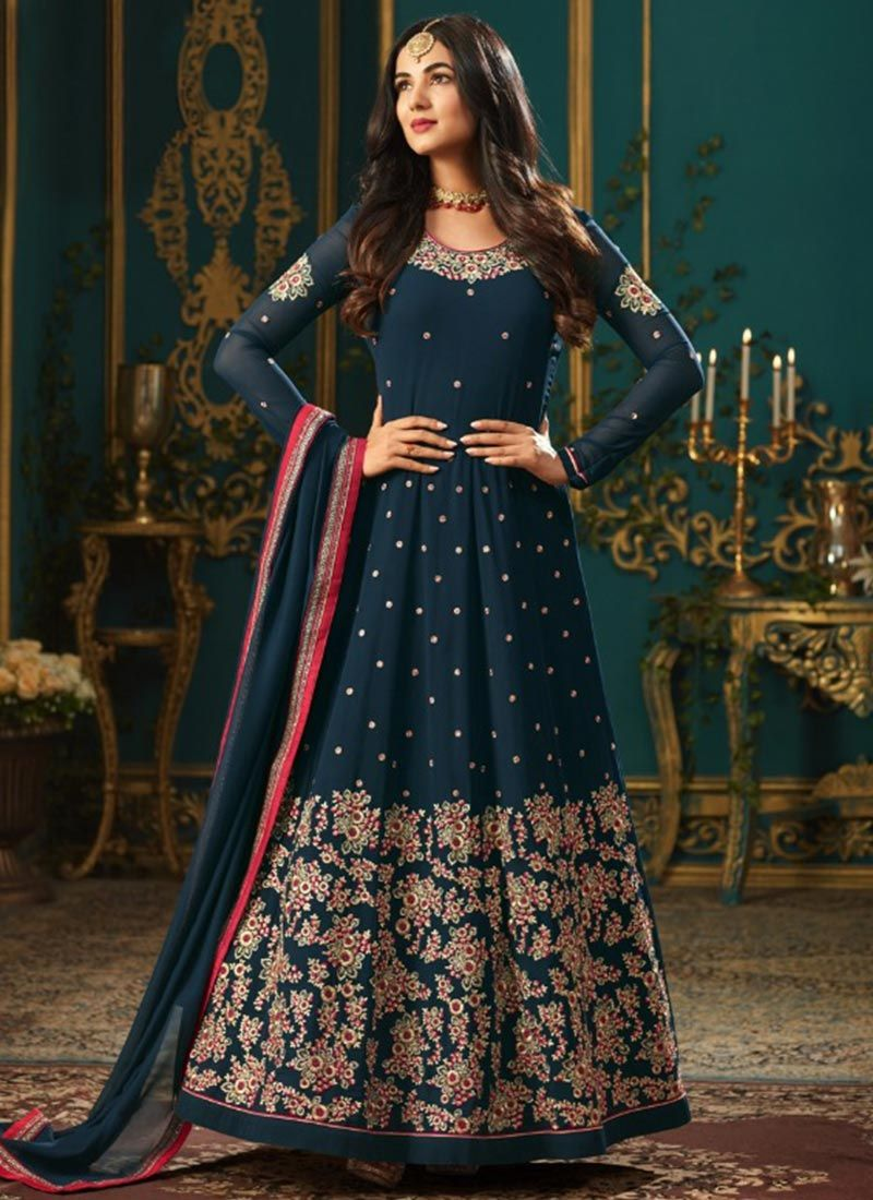 da6e4d080d Buy Sonal Chauhan Lace Work Floor Length Anarkali Suit : 83298 -