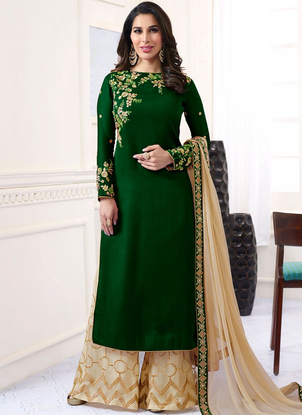 Sophie Chaudhary Embroidered Work Green Satin Designer Palazzo Suit