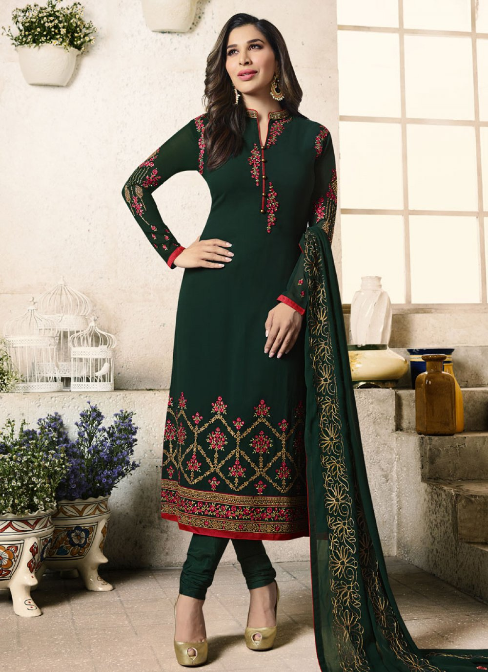 Sophie Chaudhary Green Churidar Designer Suit