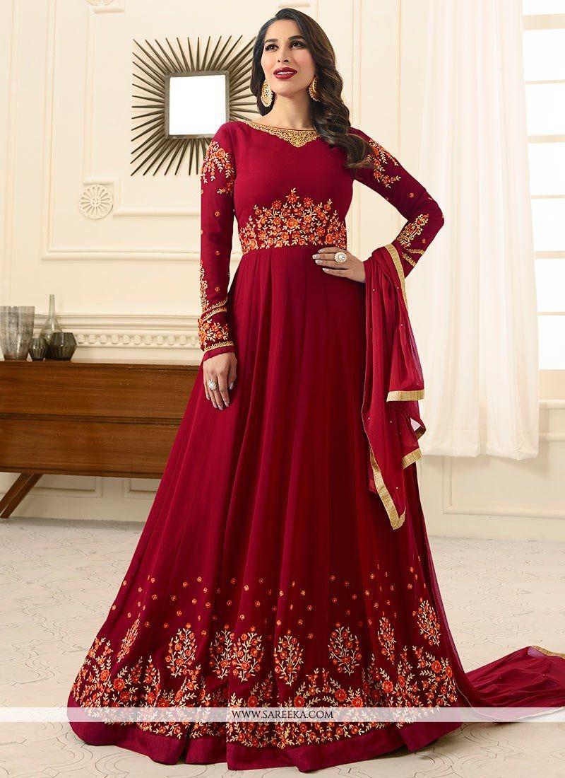 Sophie Chaudhary Resham Work Maroon Floor Length Anarkali Suit