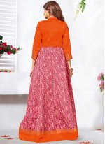 Stone Art Silk Anarkali Salwar Kameez in Orange and Pink