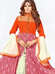 Stone Art Silk Anarkali Salwar Kameez in Orange and Pink