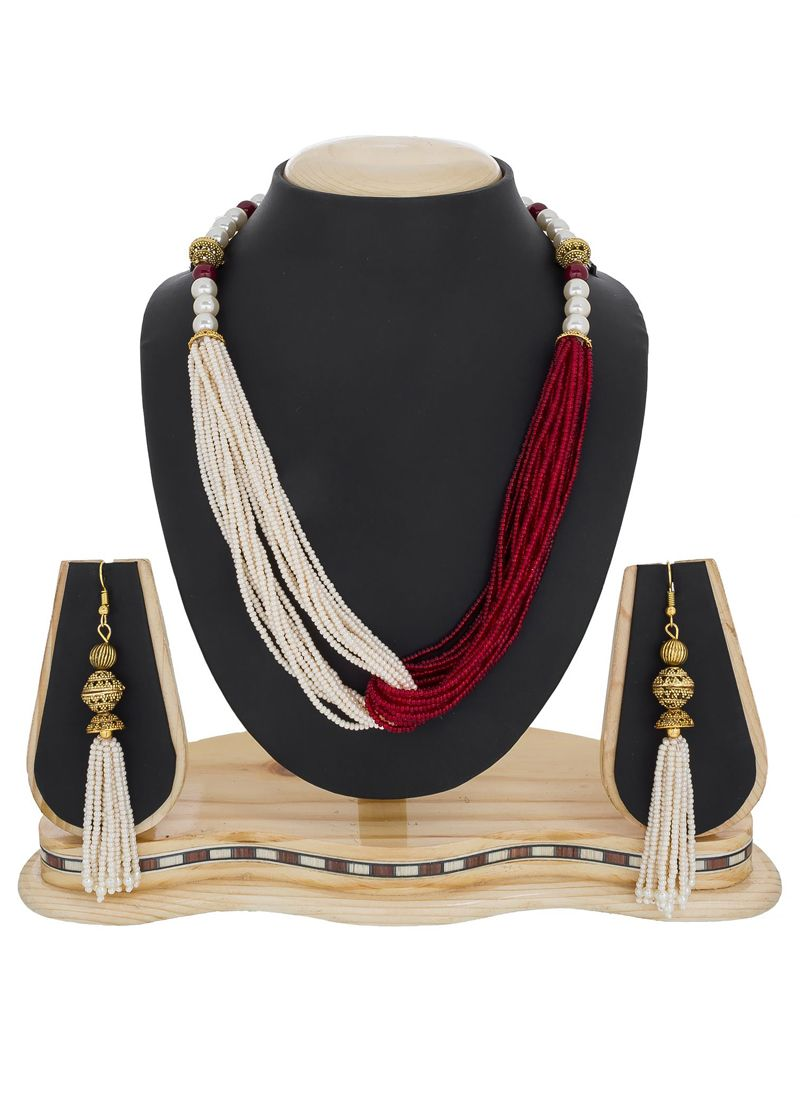 Shop Stone Necklace Set In Maroon And White Online 77150
