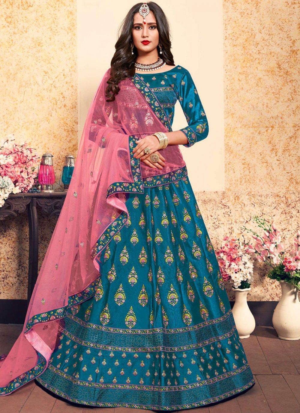Stone Satin Trendy Lehenga Choli in Blue