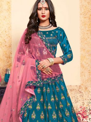 Stone Satin Trendy Lehenga Choli in Blue