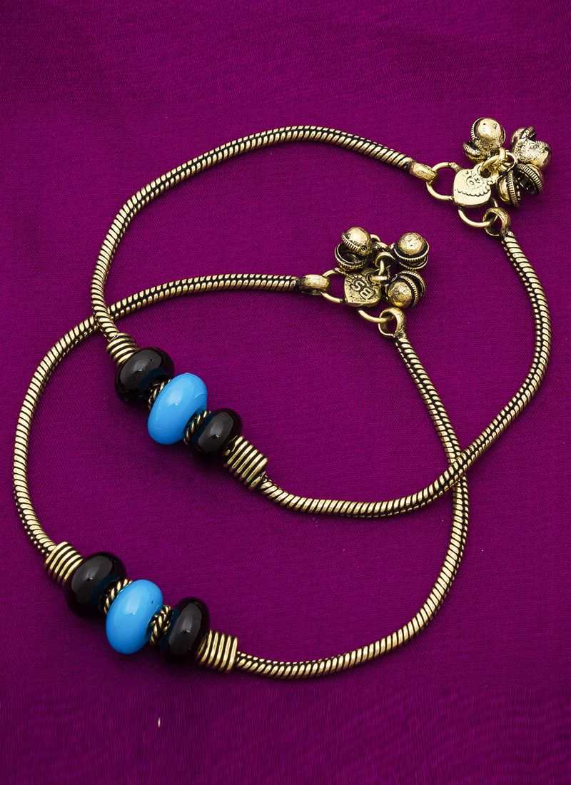 Stone Work Anklet in Gold
