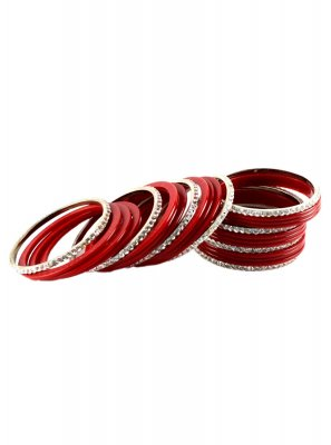 Stone Work Bangles in Maroon