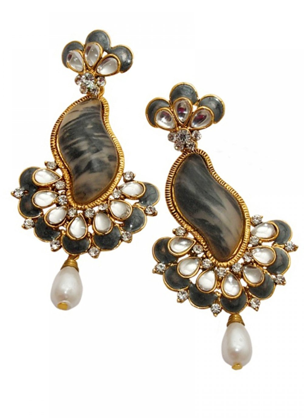 Stone Work Black and Gold Ear Rings
